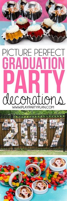 graduation celebration diy Picture Perfect Graduation Decorations Picture perfect graduation party decorations to celebrate your graduate in the best way! Love how they incorporated photos into the graduation party food, graduation party games, and more! Graduation Party Games, College Graduation Parties, Graduation Celebration, Graduation Decorations, Graduation Party Decor, Grad Parties, Graduation Ideas, Graduation Outfits, Theme Parties