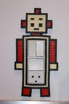 Perler Robot around light switch