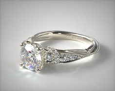Pinched-Shank Pave Curled Undergallery Engagement Ring in Platinum (Setting Price) Beautiful Engagement Rings, Engagement Ring Styles, Designer Engagement Rings, Vintage Engagement Rings, Celtic Engagement Rings, Unique Diamond Engagement Rings, Celtic Wedding Rings, Diamond Wedding Rings, Diamond Rings