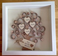 Framed wooden personalised family tree. Decorated with buttons and hearts painted and hand stamped with names of family members with a choice of up to 8 hearts. Presented with gift tag with message/title of your choice. Eg: The Smith Family, Our Family, Our Grandchildren etc The tree comes In white box frame with measures approx 23cm x 23cm. Lovely gift idea for anniversary or the finishing touch to any room! This is a made to order item therefore please allow 1-2 weeks for dispatch. I am…