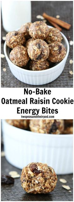 No-Bake Oatmeal Raisin Cookie Energy Bites Recipe on twopeasandtheirpod.com These easy and healthy energy bites taste just like oatmeal raisin cookies! They only take 10 minutes to make and are great for breakfast on the go or snacking!
