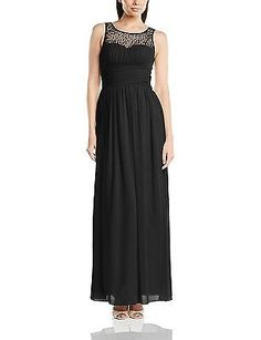 Size 8, Black, Little Mistress Women's Embellished Maxi Plain Sleeveless Dress N