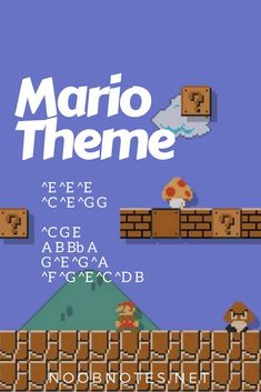 Theme - Nintendo music notes for newbies: Super Mario Bros. Play popular songs and traditional music with note letters for easy fun beginner instrument practice - great for flute, piccolo, recorder, piano and Piano Sheet Music Letters, Piano Music Notes, Easy Piano Sheet Music, Flute Sheet Music, Super Mario Bros, Music Poster, Song Notes, Theme Tunes, Kalimba