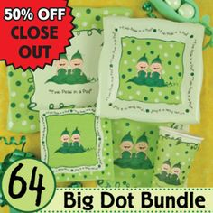 Twins Two Peas in a Pod Caucasian Baby Shower Party Supplies & Ideas - 64 Big Dot Bundle