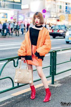 Harajuku Girl in Orange Bomber Jacket & Orange Miniskirt w/ Faith Tokyo & Gucci Asian Street Style, Tokyo Street Style, Japanese Street Fashion, Tokyo Fashion, Harajuku Fashion, Korean Style, Orange Bomber Jacket, Harajuku Girls, Korean Fashion Trends