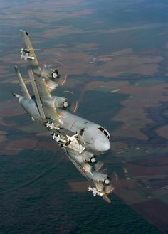 """The Lockheed P-3 Orion is a four-engine turboprop anti-submarine and maritime surveillance aircraft developed for the United States Navy and introduced in the 1960s. Lockheed based it on the L-188 Electra commercial airliner. The aircraft is easily recognizable by its distinctive tail stinger or """"MAD Boom"""", used for the magnetic detection of submarines."""