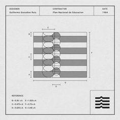 Designer: Guillermo Gonzalez Ruiz Contractor: Plan Nacional de Educacion Date: 1984 Graphic Design Print, Graphic Design Illustration, Logo Guidelines, Plan Nacional, Grid, Retro Logos, Geometric Logo, Professional Logo Design, Typography Logo