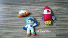 Astronauta y naves espaciales fieltro