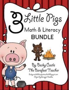 Three Little Pigs Literacy & Math Bundle - 10 Activities Total-Week 2