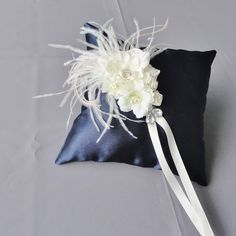 Wedding Navy Blue And Ivory Flowers Ring Bearer Pillow. $28.00, via Etsy.