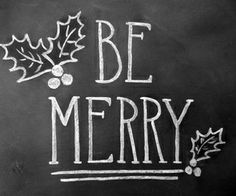 merry and bright chalkboard christmas print handlettered