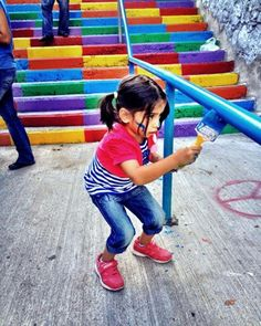 """Recently, a group of activists got together in Cihangir, Istanbul to paint the neighborhood stairs rainbow. When the municipality noticed, they immediately painted them back gray. In response, hundreds across Turkey have begun painting their local staircases rainbow.  Her renk Taksim Her Renk Direniş ! """"Every color is Taksim, Every Color is Revolt !"""""""