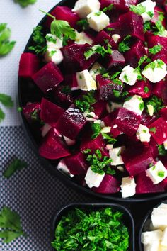 Healthy Beetroot and Feta Salad by scrambledchefs: This salad has the perfect balance of sweet and salty from the beetroot and feta cheese. Super healthy and tastes even better. #Salad #Beets #Feta #Healthy