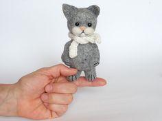 Gray Cat 45   Needle Felted Miniature Soft by MrBearFamily on Etsy
