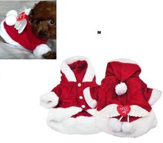 SWT Size M Red Dog Costumes Christmas Angel Wing Dog Coat Santa Fancy Dress Suit --- Great Christmas Gift for Pets @ £8.39