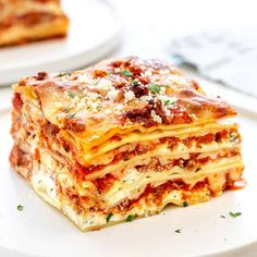 Lasagna with Ground Beef and Pork Sausage - Jessica Gavin Sausage Lasagna, Meat Lasagna, Italian Sausage Recipes, Sweet Italian Sausage, Lasagna Recipe With Italian Sausage And Ground Beef, Dinner Dishes, Food Dishes, Tasty Dishes, Main Dishes