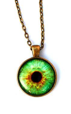 Light Green Eye Necklace by glowwormshop Eye Jewelry, Jewelry Box, Jewelery, Jewelry Accessories, Unique Jewelry, Clean Jewelry, Jewelry Necklaces, Ethnic Jewelry, Diesel Punk