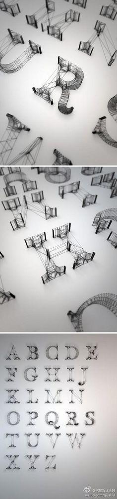 英国设计师 Dan Hoopert的线条字母设计