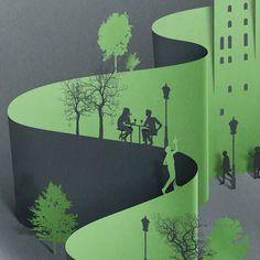 Paper cutting illustration by Eiko Ojala