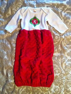 Applique Christmas Baby Gown.