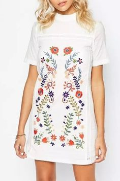 women-sweet-floral-embroidery-print-mock-neck-shift-dress