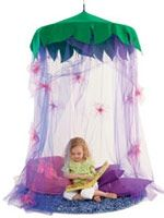 DIY Hula hoop canopy~Tinkerbell reading area-( can modify for jungle theme)!!!