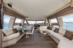 Main Deck #Design - Ferretti #Yachts 690 on display at the #MiamiBoatShow 2015, 12-16 Feb 2015. #luxury #ferretti #yacht #MadeInItaly #Mybs2015