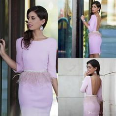 2019 Pink Short Prom Dresses Scoop Neck Beads Waist Feathers Cocktail Dresses Sexy Open Back Three Quarter Sleeve Party Dresses Cheap Cocktail Dresses, Formal Cocktail Dress, Strapless Cocktail Dresses, Evening Dresses, Dresses For Teens Dance, Sexy Dresses, Short Dresses, Fashion Dresses, Prom Dresses