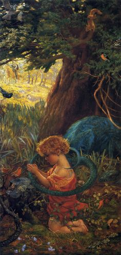 "Painting of the Day!  Arthur Hughes (1832-1915) ""The Rescue"", Oil on Canvas.  To see more works by this artist please visit us at: https://www.artrenewal.org/pages/artist.php?artistid=909  - Share your favorite old master works with us! http://www.pinterest.com/ArtRenewal/share-your-favorite-old-master-works/"
