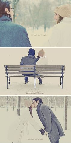 snow. bench. love. I feel like this would be a Rexburg type of engagement shoot ;)