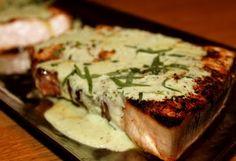 Blackened Swordfish with Tarragon Yogurt Sauce #pescetarian