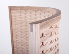 Woven screen, steam bent and hand woven by Sebastian Cox using English ash. Best Wood For Furniture, Office Furniture, Sofa Design, Furniture Design, Interior Design, Bent Wood, Banquette Seating, Mechanical Design, Sofa Set