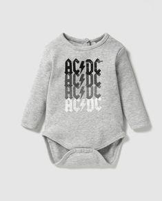 Body de bebé niño Personajes de AC DC en gris 6f1aa3ec2db8
