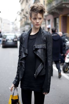 black Rick Owens leather jacket // Freya Beha ---love this look and also the fo-hawk hair!