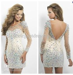 Discount 2014 New arrival beauty full beaded crystal cocktail Dresses with long sleeve prom dresses short dresses