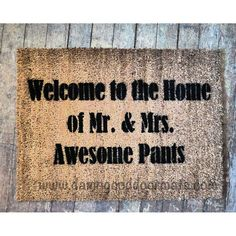 doormat Welcome to the Home of Mr  Mrs Awesome pants- funny Novelty doormat