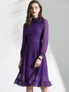 Elegant Ruffles Sleeve Slim Stand Collar Chiffon A-Line Dress – DressSure Modest Dresses, Modest Outfits, Stylish Dresses, Casual Dresses, Fashion Dresses, Modest Clothing, Lovely Dresses, Purple Dress Outfits, Muslim Fashion