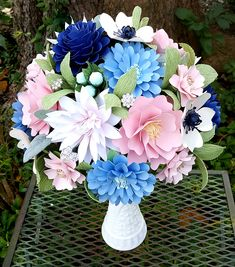 Paper Bouquet - Paper Flower Bouquet - Shabby Chic Bouquet - Navy and Pink - Bridal Bouquet - Wedding Bouquet - READY TO SHIP Paper flower bouquet ready to ship! This carefully hand sculpted paper bouquet measures 8 Bridal Bouquet Pink, Wedding Bouquets, Wedding Flowers, Flower Bouquets, Wedding Colors, Wedding Dresses, Origami Flowers, Paper Flowers, Cocktail Wedding Reception