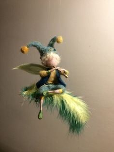 Needle felted elf, Waldorf inspired, Boy elf, Fairy, Wool elf, Children room, Hanger, Gift, Needle felted fairy