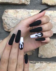 ideas of matte black coffin nails, matte black nails; Black Acrylic Nails, Black Coffin Nails, Matte Black Nails, Best Acrylic Nails, Acrylic Nail Designs, Black Manicure, Nail Black, Coffin Nail Designs, Acrylic Nail Art