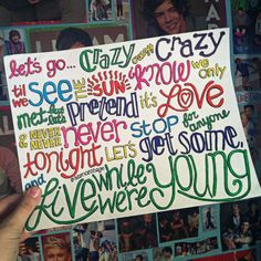 Live While Were Young Lyric Drawing by samonstage on Etsy, $5.00