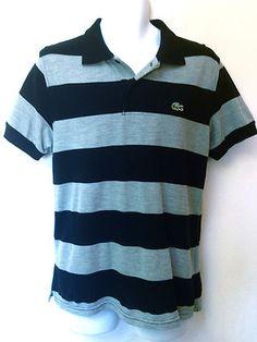 Lacoste Mens IZOD Black Gray Bold Stripe Short Sleeve Cotton Shirt s