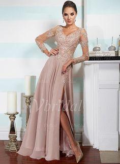Evening Dresses - $188.14 - A-Line/Princess V-neck Floor-Length Chiffon Evening Dress With Lace Beading (0175090216)