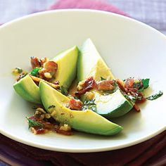 Time: 20 minutes. Crunchy bacon brings out the smokiness of a good Hass avocado, and the sharp vinaigrette helps cut its richness. Subout sugar for LC sweetner