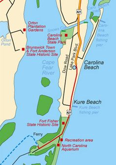 The towns of Carolina Beach and Kure Beach and the unincorporated Fort Fisher area are all considered part of Pleasure Island. Kure Beach Nc, North Carolina Beaches, Wrightsville Beach, Wilmington Nc, All I Ever Wanted, Down South, Beach Town, Vacation Places