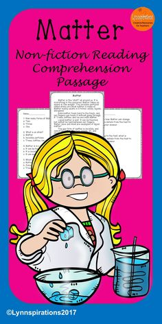 This reading comprehension passage is great for teaching the science of Matter for grades 1-4. It can be used in your class to help your students with reading comprehension skills as well as with test taking skills. It is part of the Science Bundle. Please take a preview peek! Included: An engaging passage with 4 multiple choice questions and 2 written responses.