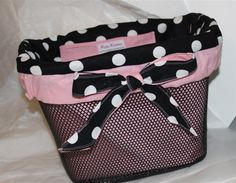 Custom Bicycle Basket Liner. This would look lovely on my pink and black bike.