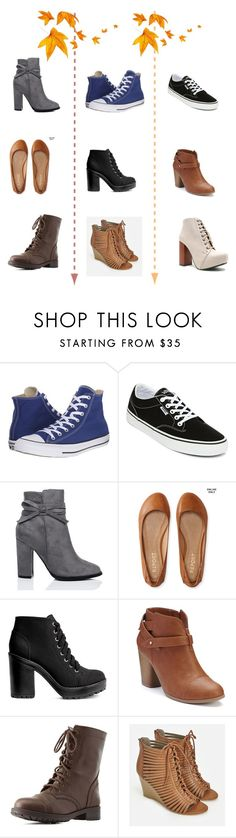 """""""Cute Fall Shoes On A Budget: $60 and Under"""" by sofia-b04 on Polyvore featuring Converse, Vans, Aéropostale, LC Lauren Conrad, Charlotte Russe, JustFab and Qupid"""