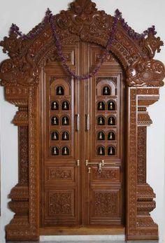 Pooja Room Door Frame And Door Design Gallery Wood Design Ideas House Main Door Design, Front Door Design Wood, Double Door Design, Pooja Room Door Design, Wooden Door Design, Wooden Doors, Wood Design, House Design, Gate Design