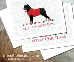 Rottweiler Dog Christmas Cards from the Breed Collection - Digital Download